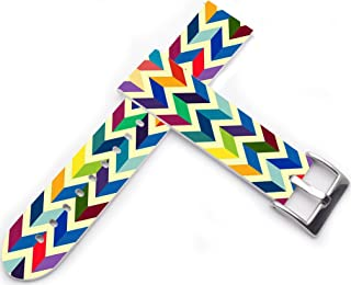 20mm Leather Watch Band - 20mm Watch Strap Compatible with Samsung Galaxy Gear S2 Classic/for Galaxy Watch 42mm / Gear Sport Candy Rainbow Colorful Print Girly Design