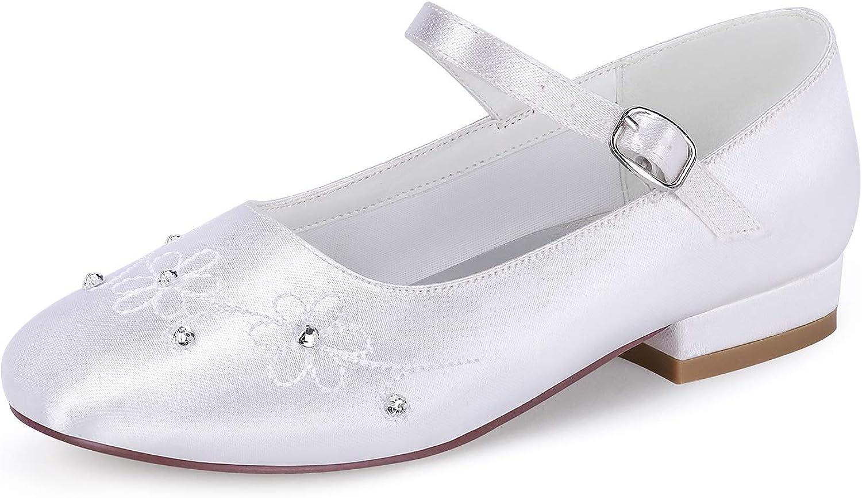 ERIJUNOR White Communion Shoes Comfortable Flower Girls Children Shoes Dyeable Satin