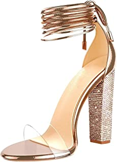 High Heel Sandals for Women Clear Heels with Rhinestone Ankle Strappy Lace Up Block Heel Diamante Dress Party Shoes