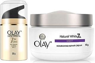 Olay Day Cream Total Effects 7 in 1, Anti-Ageing SPF 15, 50g & Olay Night Cream Natural White Fairness Night Moisturiser, 50g