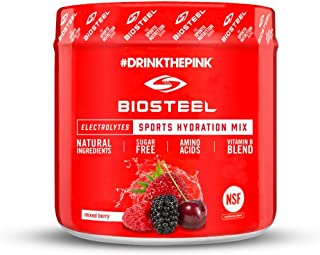 BioSteel High Performance Sports Drink Powder, Naturally Sweetened with Stevia, Mixed Berry, 20 Servings