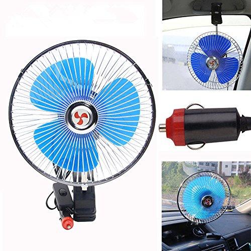 OneMoreT Ventilador de coche oscilante de refrigeración de 8 pulgadas 12 V para coche con clip automático para el salpicadero del vehículo portátil