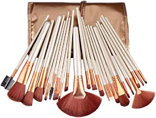STELLAIRE CHERN Makeup Brush Set 24pcs Wood Handle Essential Makeup Kit with Travel Pouch - Gold