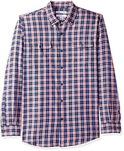 Amazon Essentials, Camicia in twill a manica lunga con due taschini, Uomo, Rosso (Navy/Red Plaid Nrp), S