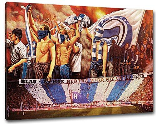 Ultras Hertha, Bild auf Leinwand XL, fertig gerahmt, 80 x 60 cm