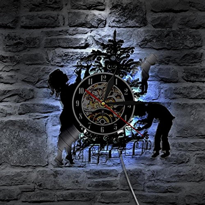 Unbekannt Lyq 12  Frhlich Weihnachten Vinyl Uhr Led Hintergrundbeleuchtung Modern Beleuchtung Mauer Lampe Mit Farbe Vernderung Kreativ Zuhause Dekorativ
