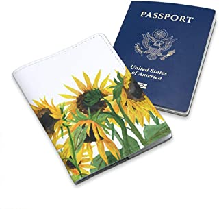 Leather White Soft Wallet Case Cover Holder For Passport With Yellow And Black Floral Sunflower Design