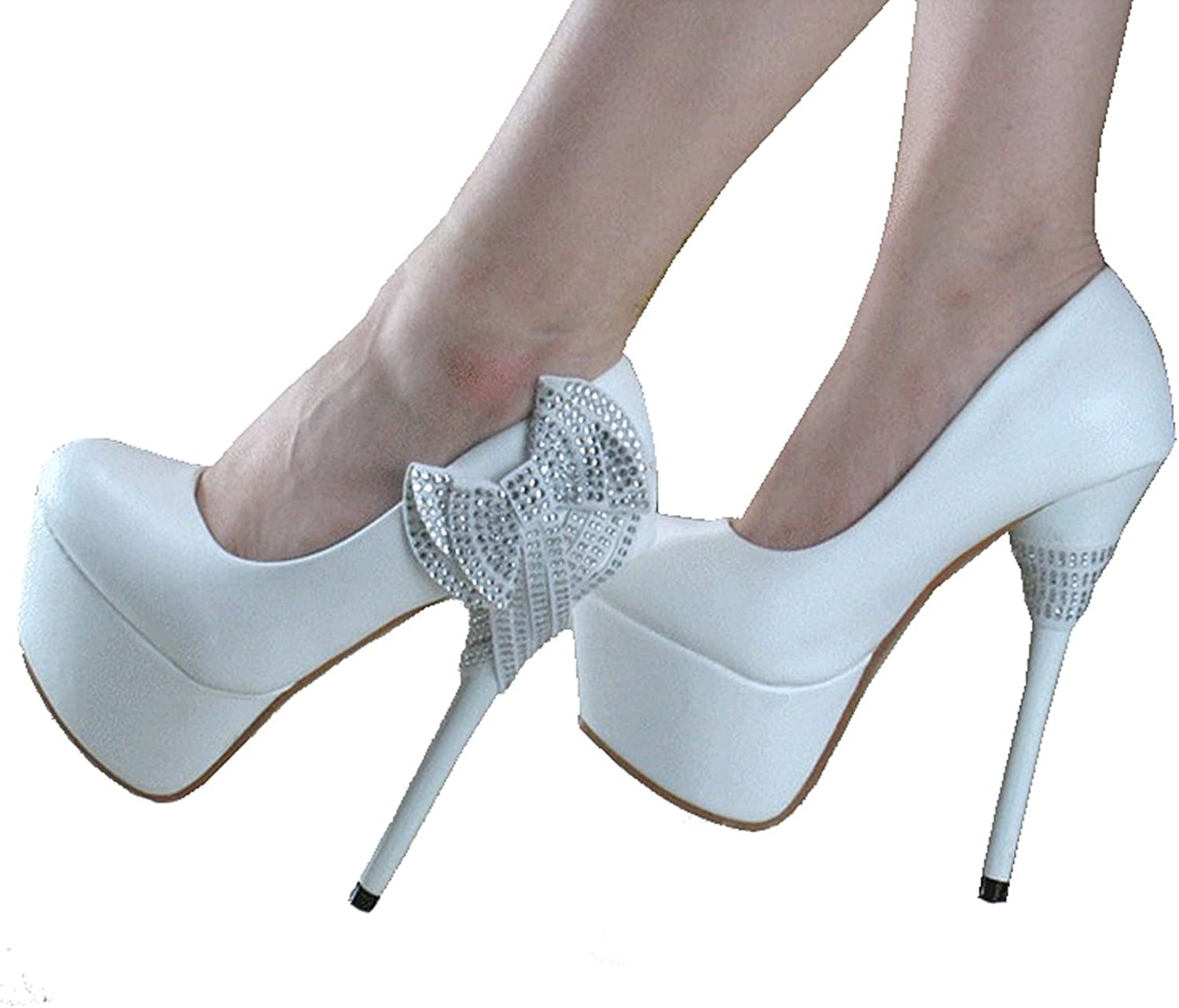 Getmorebeauty Women's Glitter Crystal Bows Pricess Wedding Prom Stiletto Super High Heels Pumps