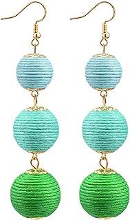 Ball Dangle Earrings Thread Wrapped Triple Lantern Balls Dangle Drop Tassel Earrings