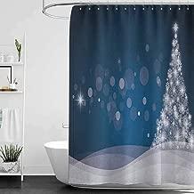 homecoco Shower Curtains Dragon Ball Christmas,Fantasy Backdrop Abstract Xmas Tree Dreamlike Snowflakes Dots Wintertime, Dark Blue White W69 x L90,Shower Curtain for Bathroom