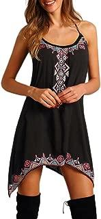 YINROM Women Sexy Boho Sleeveless Spaghetti Strap Party Summer Beach Short Mini Dress