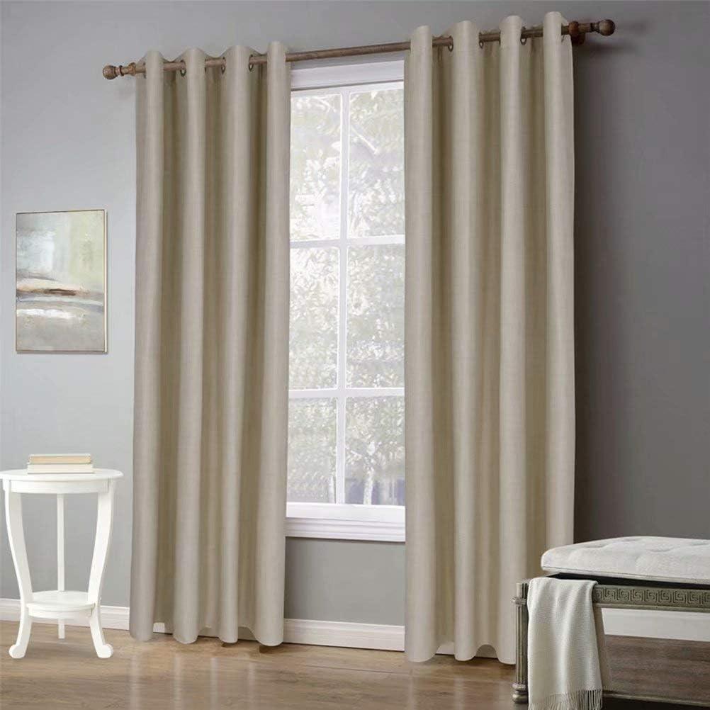 MvchennL 初売り Rich Natural Linen Blend Curtains Soft 2 Drapes Grommet 送料無料激安祭