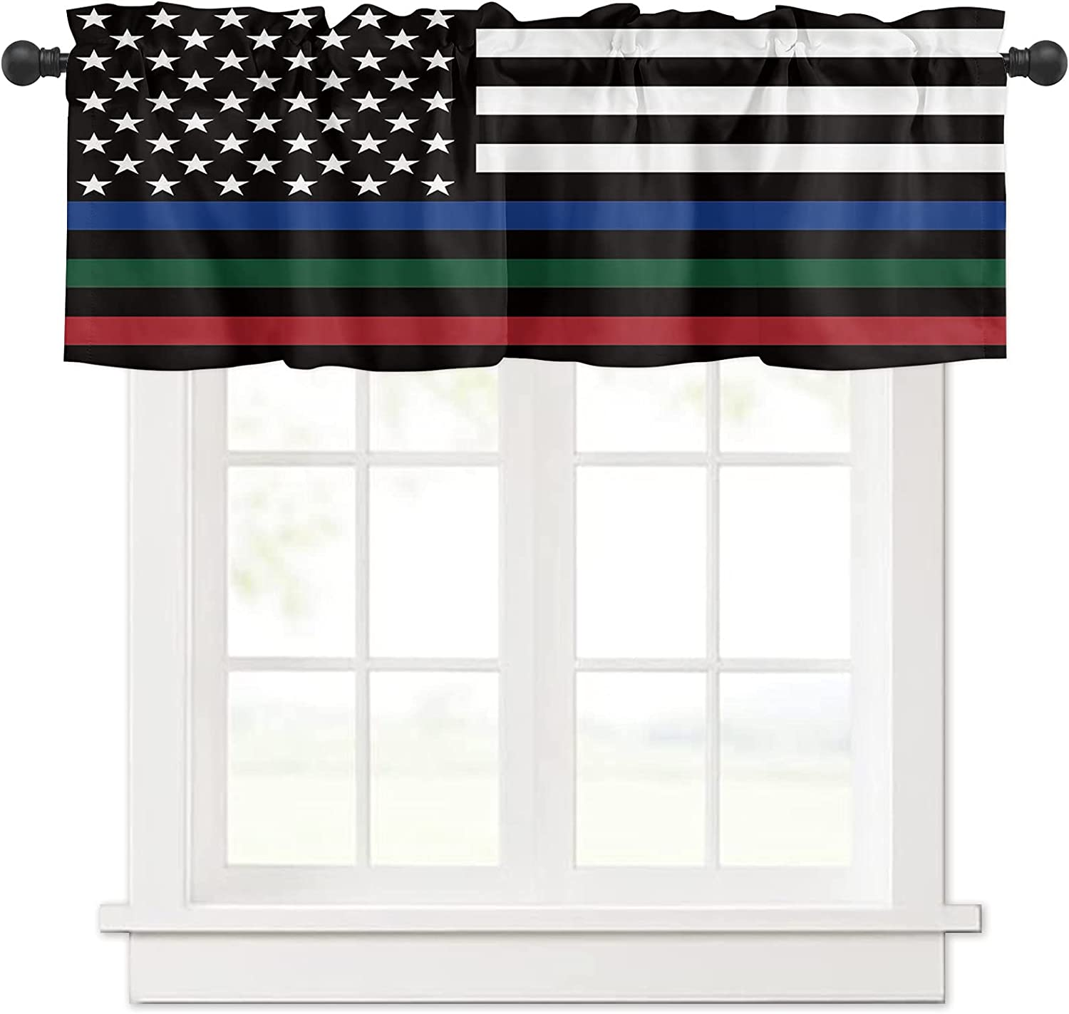 American Flag Blue Red 4 years warranty Green for Valances Windows Lines Curtain Seattle Mall