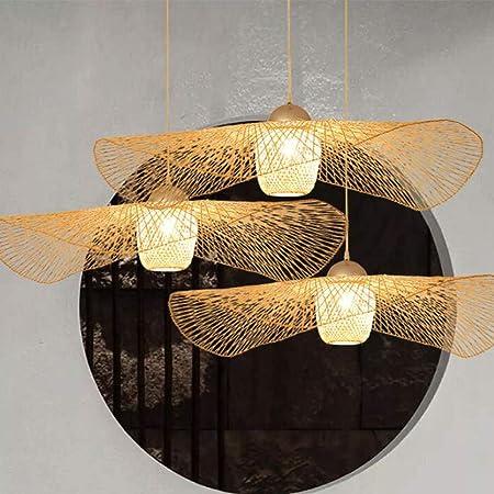 Lustre E27 Plafonnier En Bambou Rétro Lampe De Plafond Suspension Créatif Abat-Jour En Bambou Tissé À La Main Lustre Éclairage Restaurant Chambre Plafonnier Salon Cuisine Café Lamp Décorative,100cm