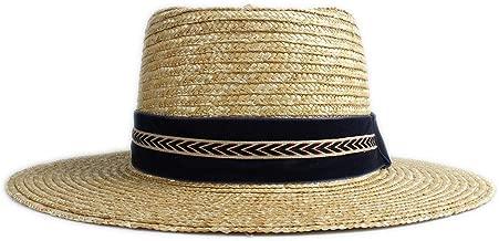 XIANYUNDIAN Women's Men's Straw Sun Hat For Unisex Dark Blue Arrow Decoration Flat Cap Felt Pork Pie Cap Dome Hat Fashion New Style Sun Hat Porkpie Hats (Color : 1, Size : 56-58CM)