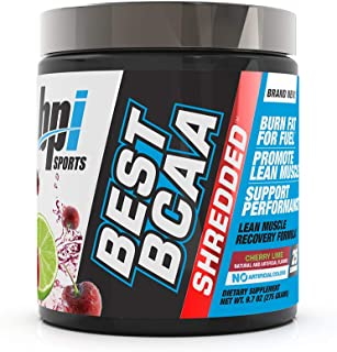 BPI Sports Best BCAA Shredded - Caffeine-Free Thermogenic Recovery Formula - BCAA Powder - Lean Muscle Building - Accelerated Recovery - Weight Loss - Hydration - Cherry Lime - 25 Servings - 9.7 oz.
