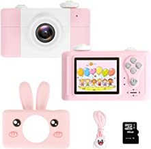 "GZMWON Kids Camera, Digital Children's Camera Cartoon Frame 8 MPX, 4X Optical Zoom, 2"" IPS HD Screen, 17mm Lens for School Students Boys Girls Kids Gift (with 16GB TF Card, Pink Rabbit)"
