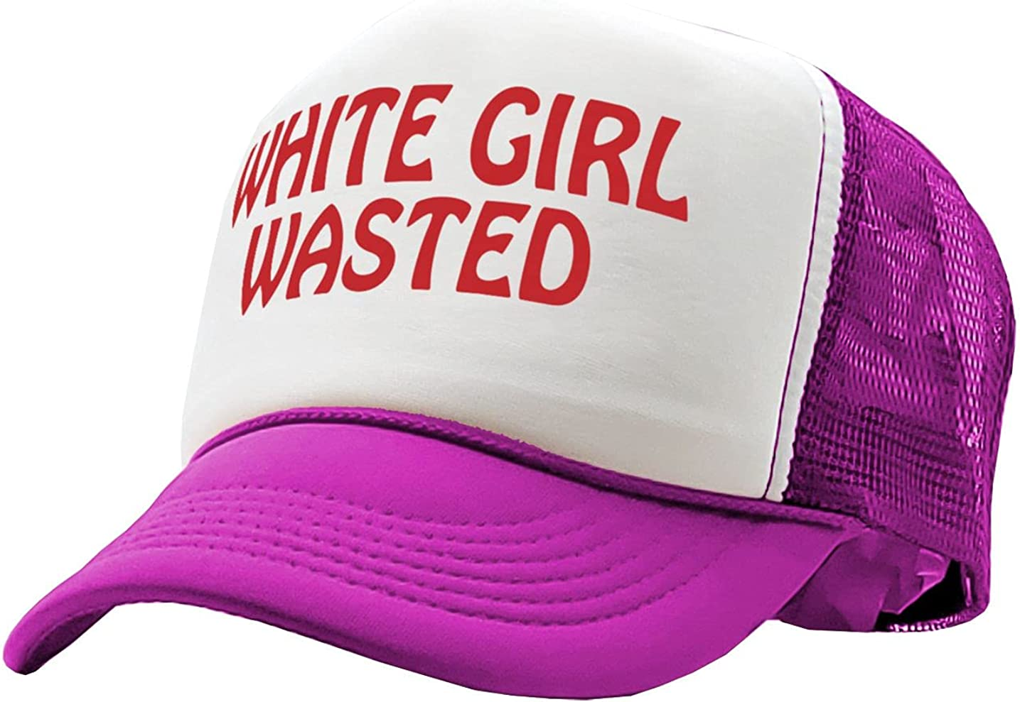 Gooder Tees - White Girl Wasted - Funny Party Dance frat College - Vintage Retro Style Trucker Cap Hat