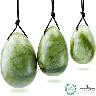 Green Jade Yoni Eggs, June&Ann Set of 3 Drilled Natural Chakra Healing Yoga Exercise Eggs with String Massage Stones Ben Wa Ball for Women to Train Pelvic Muscles Kegel Exercise