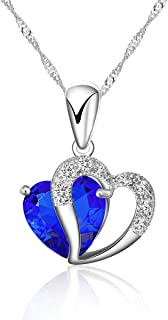 925 Silver Necklace Adjustable Chain and Dark Blue Crystal Heart Pendant – Handmade with Sparkling Double Heart Silver and Crystal Like Pendant in Various Stunning Colors. Designed in England.