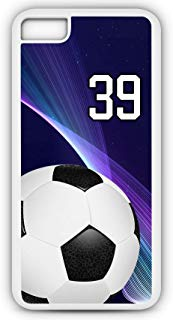 iPhone 7 Case Soccer SC001Z Choice of Any Personalized Name or Number Tough Phone Case by TYD Designs in White Plastic and Black Rubber with Team Jersey Number 39