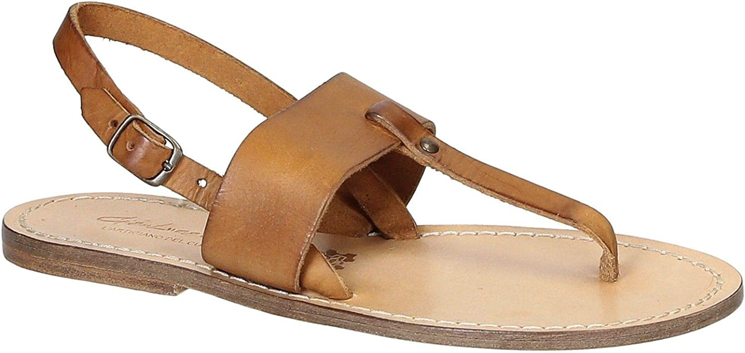 GIANLUCA - L'ARTIGIANO DEL CUOIO Women's 2057BROWN Brown Leather Flip Flops