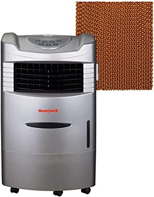 Honeywell 470 CFM Indoor Evaporative Air (Swamp Cooler) with Remote Control in Silver with Bonus Replacement Filter, Gray (Renewed)