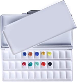 MEEDEN Airtight Leakproof Watercolour Palette Travel Paint Tray with A Large Mixing Areas, 33 Wells Black Folding Palette for Watercolour, Gouache, Acrylic Paint