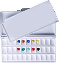 MEEDEN Airtight Leakproof Watercolor Palette Travel Paint Tray with A Large Mixing Areas, 33 Wells Black Folding Peel-Off ...
