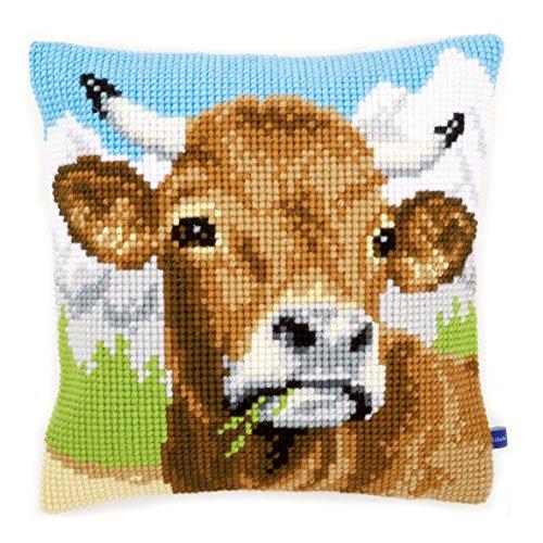 Vervaco koe bruin kruissteekkussen/borduurkussen voorbedrukt, katoen, meerkleurig, 40 x 40 x 0,3 cm