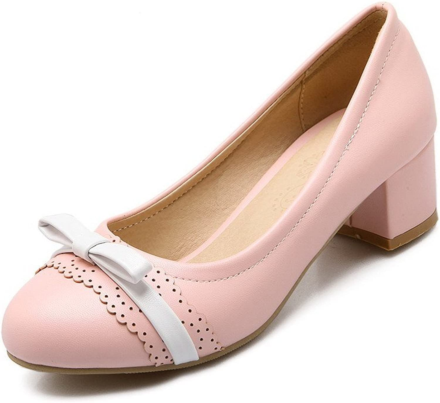 WeenFashion Women's Low-Heels Soft Material Pull-on Round Closed Toe Pumps-shoes