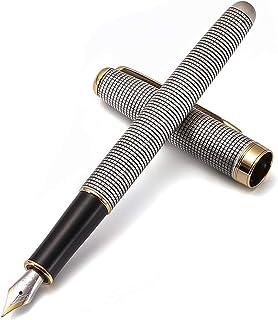 Jinhao [Chainmail] Fountain Pen, Retro Copper barrel and Gold trim Arrow clip, Fine nib, Gift case, Office finance School ...