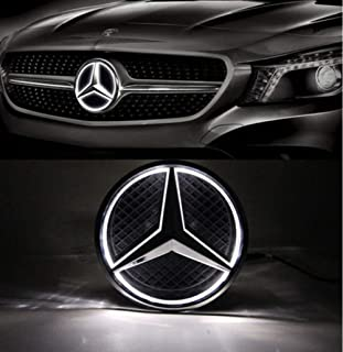 LED Emblem for Mercedes Benz 2013-2015,Car Front Grille Badge, Illuminated Logo Hood Star DRL for Mercedes Benz A B C E R GLK ML GL CLA CLS Class - White Light - Drive Brighter