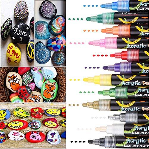 DIAOPROTECT Acrylstifte Marker Stifte, 12 Farben Wasserfest Acrylstifte für Steine Bemalen, Acrylfarben Stifte für DIY Keramik Glas Porzellan Metall Kunststoff Holz Leinwand mit Reversiblen Spitze