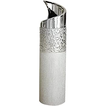 Vase déco moderne vase à fleur vase en céramique champagne argent hauteur 40 cm Gilde