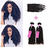 ISEE Hair Virgin Malaysian Deep Curly Jerry Curly Human Hair 3 Bundles,100% Unprocessed Human Curly Hair Extensions Natural Black Can Be Dyed (20''&22''&24''with 18''closure)