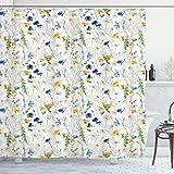 ABAKUHAUS Flor Cortina de Baño, Amapolas Margaritas Rural, Material Resistente al Agua Durable Estampa Digital, 175 x 200 cm, Pálido Verde Azul Amarillo