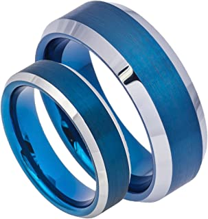 8MM/6MM His & Her's Beveled Edge Blue IP Plating Brushed Finish Tungsten Carbide Wedding Band Ring Set