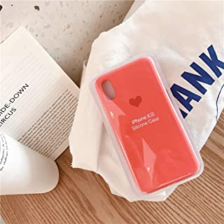 iPhone CASE-Silicone Material Small Love Pattern Green Mobile Phone Shell Tide Brand All-Inclusive Soft Shell Drop Protection Sleeve for iPhone Xs (Color : Orange, Size : IPhoneXS MAX)