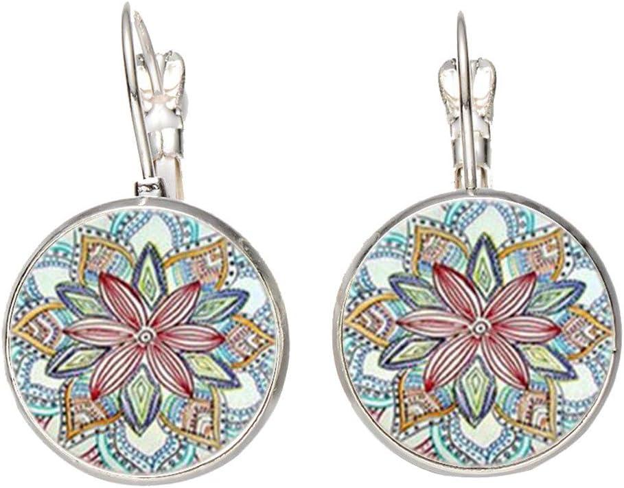 Vintage Retro Women Glass Round Flower Ear Stud Pierced Earrings Fashion Jewelry Bronze