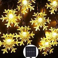 クリスマスライト、屋外LEDソーラーストリングライト、8つの照明モード、防水ストリングライト、クリスマスデコレーション、パーティー、家に適しています,Warm color,7M