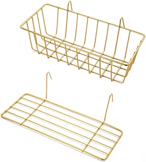 GBYAN Hanging Basket Straight Shelf Flower Pot Display Holder for Wire Wall Grid Panel, 2 Pack