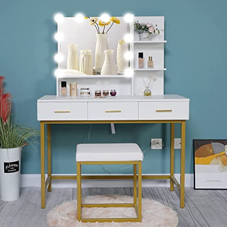 Tribesigns 47 Large Vanity Set With Tri Folding Lighted Mirror Elegant Makeup Table Vanity Dresser With 4 Drawers 10 Led Lights And Cushioned Stool Dressing Table For Girls Bedroom White Gold Kitchen