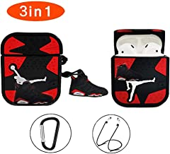 AJ Airpods Case ,Cute Cool Design 3D Fashion Character Silicone Fun Keychain Cases for Kids Teens Boys Men for Airpods 1&2 Cover(Red Flying Man)