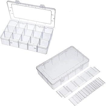 Caja Almacenamiento (Pack de 2) - Caja Plastico Compartimentos Desmontables (27,5 x 17,7 x 4,3cm) – Caja Organizadora 36 Compartimentos Joyas, Cuentas, Anzuelos, Accesorios de Costura, Herramientas: Amazon.es: Hogar