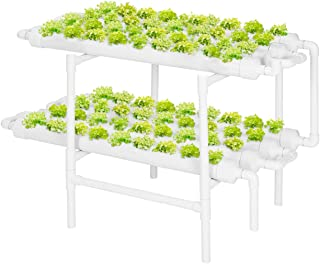 Gluckluz Hydroponic Growing System 2 Layers 72 Plant Sites 8 Pipes Hydroponics Planting Germination Kit with Water Pump, P...