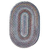 Rhody Rug Augusta Oval Braided Wool Rug (5' x 8') by Blue