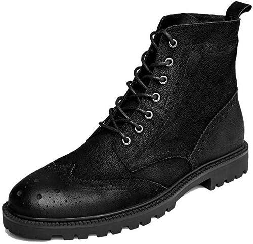 Yra Botines para hombres Brogues zapatos Chukka con Cordones De Cuero Genuino Punta rojoonda botas Martin botas Altas zapatos