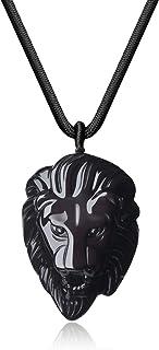 COAI Lion King Obsidian Stone Pendant Necklace for Men