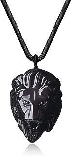 COAI Mens Black Obsidian Lion Head Pendant Necklace